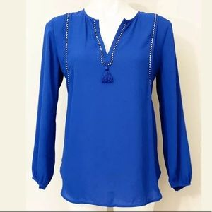 J.CREW Blue Pullover Shirt Blouse Top Size 2.